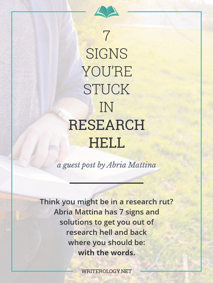 Think you might be in a research rut? Abria Mattina has 7 signs and solutions to get you out of research hell and back where you should be—with the words. | Writerology.net